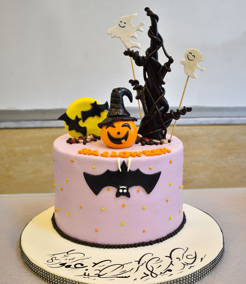 Fondant Halloween Decorations.Chocolate Strawberry Cream Cake Decorated With Halloween Decorations Quantity For 8 People